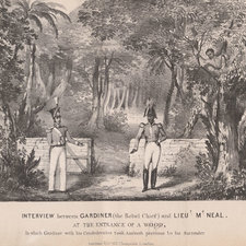 The rebel chief, Gardiner, hiding in a tree from two soldiers