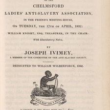 Title page of pamphlet showing motif of the kneeling slave