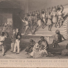 Plate showing punishments including flogging and the treadmill