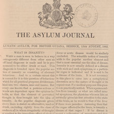 First page of The Asylum Journal for 1882