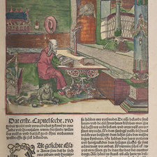 Hand-coloured woodcut illustration, depicting St. Jerome seated at a desk in his study, with text below