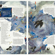 Double-page spread integrating text and illustration, with a motif of a butterfly fluttering across the text and a raven