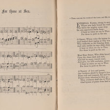 Music score of hymn 222 with short Biblical quotation at head: for those at Sea