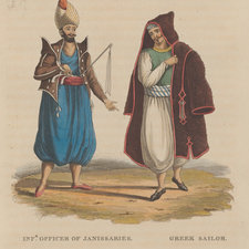Hand-coloured portraits of an officer of the Janissaries and a Greek sailor