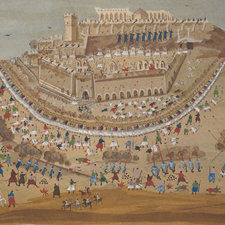 Illustration showing the siege of Athens at the Acropolis