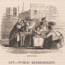 Wood engraving depicting a group gathered around a street coffee stall with holly on the hot water urn and on one of the women's hats