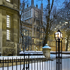 View of exterior of the Maughan Library, covered in snow