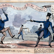 Cartoon in colour depicting the duel. Wellington is depicted on the right aiming his pistol wide and Winchilsea is depicted on the left firing his pistol in the air.