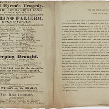 Playbill for a performance of Marino Faliero at the Theatre Royal, Drury Lane, 1821 (left-hand side) with accompanying letter defending the performance (right-hand side).