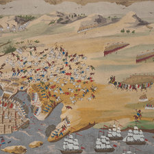 Reproduction of Zografos' painting depicting the town of Missolonghi under siege.