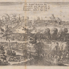 Engraved landscape view of the battlescene with figures fighting on horseback and on foot. The city of Panama is visible in the background with flames billowing from its buildings.