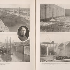 Reproductions of photographs in halftone. Two photographs on the left show a dredging fleet entering and at work in the locks, with a circular image of the designer of the locks, Harry F Hodges. Two photographs on the right show water welling up through the floor of the lock and how the water is conveyed through cross culverts.