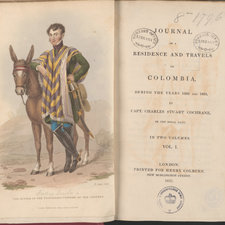 Title page and frontispiece depicting the author in costume standing beside a donkey.