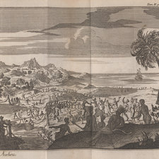 Engraved plate depicting various groups of figures dancing and celebrating beside a shore. With a palm tree in the right foreground and a sailing ship in the bay.