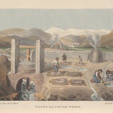 Coloured lithograph depicting a Chilean silver and copper works. A man is laying the sediment containing silver onto hides, while women and boys can be seen on the right washing the silver.