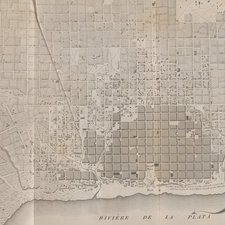 Engraved aerial map of city revealing a grid pattern layout.