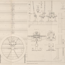 Line illustration depicting machinery used for opening and closing louvres (doors) at the Crystal Palace.
