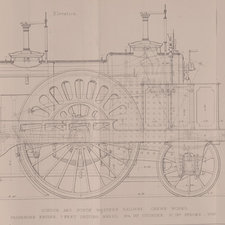 Line drawing of a locomotive engine, views of side and back elevation.