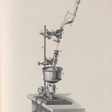 Wood-engraving depicting apparatus secured to the top of a table.