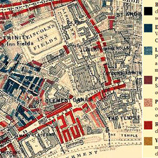 map of Aldwych area of London north of King's College with poorer areas highlighted by darker shades of blue and black