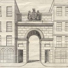 Engraved line drawing of stone entry gate with a rounded arch and coat of arms at top between two blocks of plain houses