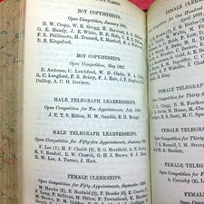 photograph of opened page 540 of King's College London calendar book listing Civil Service classes including Boy Copyistships, Male telegraph learnerships and Female clerkships