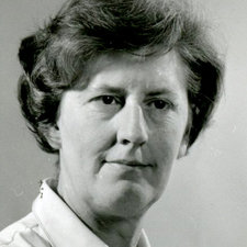 portrait photograph of Jean Hanson without spectacles wearing a white blouse
