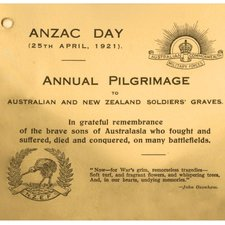 a card headed ANZAC Day 25 April 1921