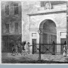 print showing four men at the entrance of King's College London, one with a apparent coffin on his head