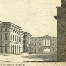 drawing of front of new main building of King's College London showing archway at end