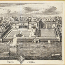 Engraving of Somerset House showing the Thames at bottom with river traffic, large gardens leading up from the river, then a large neo-classical structure with courtyards behind