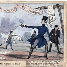 Cartoon image of two men in top hats firing dueling pistols, the Earl of Winchelsea on the left firing into the air and leaning backwards, the Duke of Wellington pointing in the direction of Winchelsea and firing