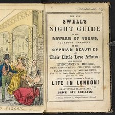 The title page of The Swell's Night Guide to the Bowers of Venus illustrated with a fold out coloured engraving showing The Royal Saxe-Coburg Saloon showing mixed couples dancing in ornate surroundings.