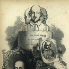 engraving combining several engraved and painted images of Shakespeare beneath three busts mounted on a plinth