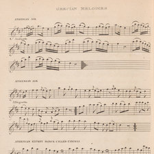Page of printed musical notation for some Grecian melodies