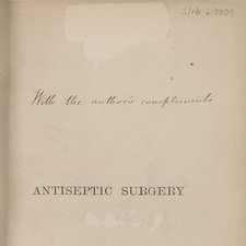 Half-title page with inscripton in ink, 'With the author's compliments