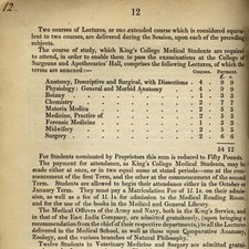 page of printed text listing courses for medical students in 1836 including anatomy, physiology, botany, chemistry, materia medica, forensic medicine, midwifery and surgery with charges