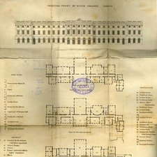 drawing of main front of King's College London and plans of three floors