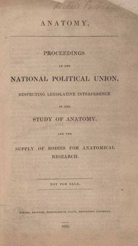 King\'s Collections : Online Exhibitions : The Anatomy Act of 1832